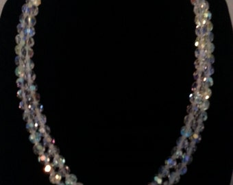 Vintage aurora borealis glass necklace superb long lenght of 34""