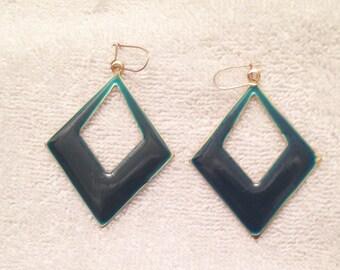 Vintage 1980's, Geometric Earrings, Teal and Gold for Pierced Ears, Triangle Dangling Earrings.