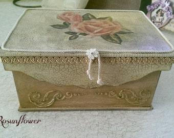 Wooden jewelry box. Jewelry box decorated, valentine's day