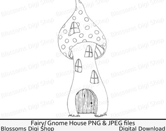 Fairy house digi stamp, instant download, elf house clipart, house line art, toadstool house jpeg, fairy png, scrapbook gnome clipart