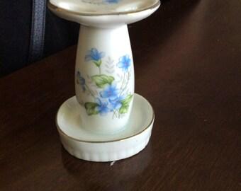 Vintage Japan Blue Flower Floral Toothbrush Holder Ceramic