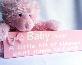 Baby Girl Pink Wood Sign, perfect gift for baby shower