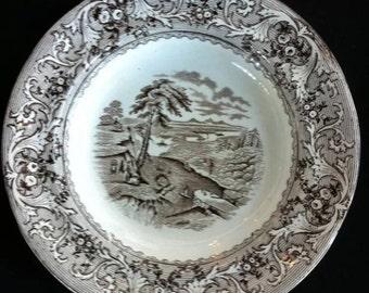 Antique Victorian Pottery Bowl rare Historical Scene Transferware Rideau Canal Ottawa Locks Bartlett Vintage Home Decor