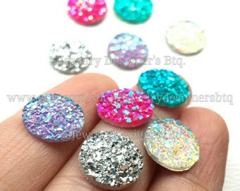 12mm Iridescent Druzy Cabochons Faux Druzies Cabochon Resin Kawaii Glitter Cabs Mermaid Deco Jewelry Findings Embellishments Craft Supplies