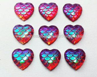 Mermaid Cabochon 12mm Iridescent Fish Scale Cabochons Heart Shape Resin Post Earring Scrapbook Cellphone Case