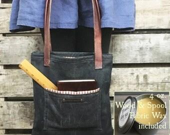 Tote Bag - The Maker's Bag - Waxed canvas and leather tote bag, Shoulder bag, Waxed canvas, Purse, Shoulder Bag, Market bag, handbag, purse