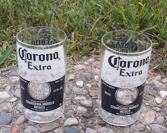 Set of 2 upcycled Corona Extra glasses