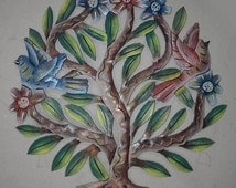 Tree of Life Wall Art with Colored Flowers and Birds Art Paintings Metal Art Wall Decor Metal Tree Wall Art Metal Decor For Home Haiti