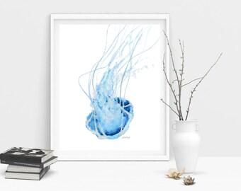 Jellyfish Art Print, blue, watercolour, beach lover gift, beach decor, beach house decor, beach art, coastal art, beach house art