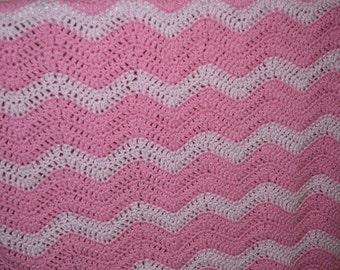 Pink Waves Crochet Blanket