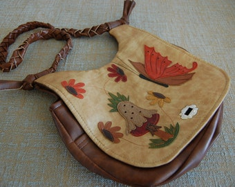 Vintage (1960's) Leather Purse Handmade Embroidered Butterfly Garden