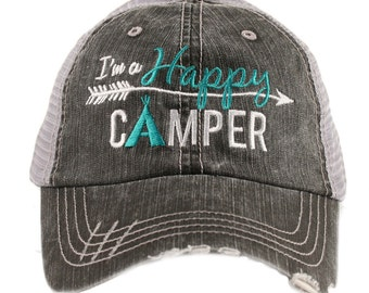 I'm A Happy Camper Trucker Hat - Distressed Hat