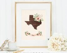 Texas wall art Texas decor Texas art Texas map USA art Map wall decor art print Scandinavian style State art Wood print flowers art floral
