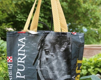 Upcycled/Recycled Reusable Horse Feed Sack Tote Shopping Bag -  Choose your color Yellow or Green