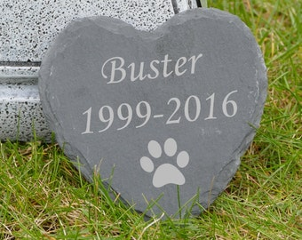 Dog Memorial Small Slate Heart Stone Grave Marker