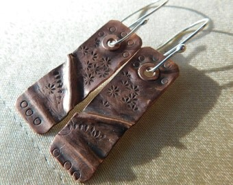 Hand-Riveted Fold-Form Copper Dangle Earrings