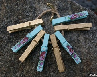 Decorative Shabby Flower Clothes Pins, Decoupaged clothes pins, Set of 8 decoupaged & painted clothespins, Rustic clothes pins, shabby chic