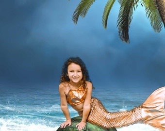 Sea Serpent Red and Gold Swimmable Mermaid Tail and Top