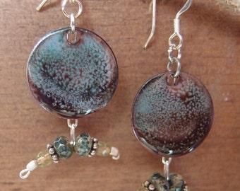 Brown and Aqua Organic Copper Enamel Silver Earrings handmade