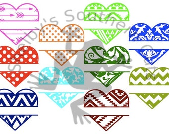 10 Heart Name SVG files