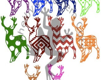 Deer Patterned SET SVG. solid/monogram/name