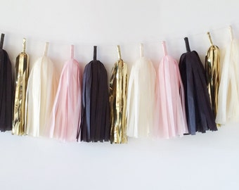 Tissue Tassel Garland  //  Blush  //  Ivory  //  Black  //  Gold //  Baby Shower  //  Bridal Shower  //  Nursery Decoration