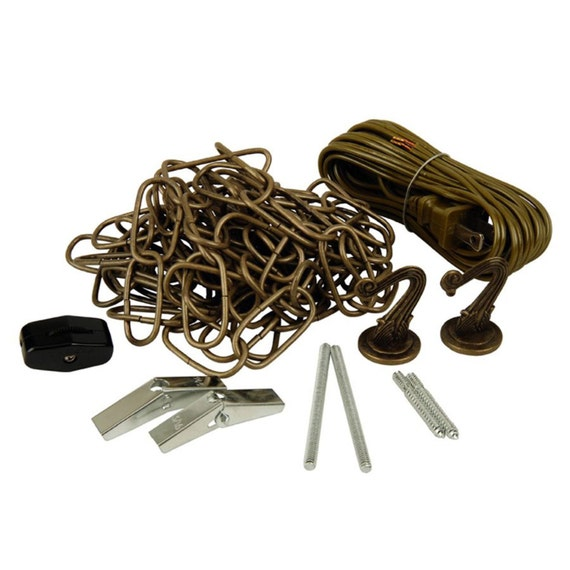 12 Ft Swag Light Kit Antique Brass Finish By