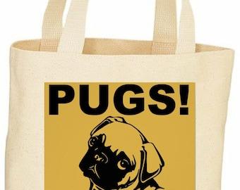 Pugs not Drugs custom tote bag