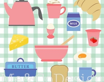 Breakfast Clipart, Morning, Brunch Clipart, Retro Kitchen Instant Download, Personal and Commercial Use Clipart, Digital Clip Art
