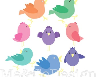 Happy Bird Clipart, Fun Cute Clipart, Instant Download, Personal and Commercial Use Clipart, Digital Clip Art