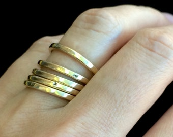 Solid Thick Simple 14 KT Gold Stackable Rings Size 6