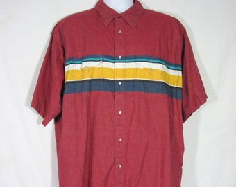 Wrangler Shirt Western 1980s Mens Vintage Red Stripe extra extra Large 80s / short sleeve Cowboy Pearl Snap XXL Rodeo