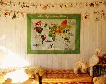 Customisable fabric world map wall-hanging (with animals) for children