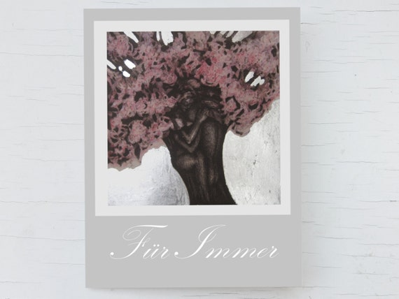 Wedding card tree, wedding day card, wedding congratulation, card pink blossom, greeting card love, romantic card for lovers, card kiss