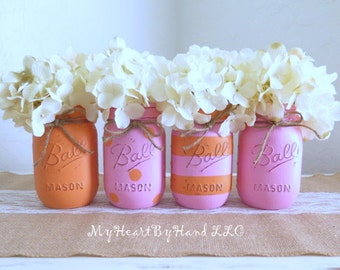 Pink and Orange Distressed Mason Jars, Birhtday Party and Baby Shower Centerpieces, Orange Polka Dots, Pink Stripes, Painted Jars, Vases