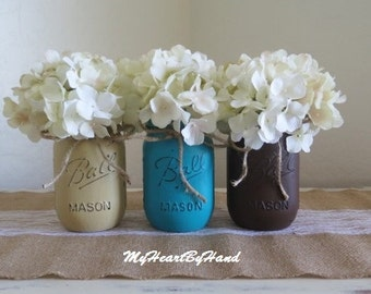 Rustic Home Decor. Distressed Mason Jars. Brown. Tan . Teal. Paintd Ball Jars. Centerpieces. Vases. Country. Southers Style. Flower Jars
