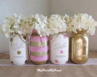 Pink and Gold Baby Shower Decorations, Baby Shower Mason Jars, Pink and Gold Bridal Shower, Distressed Mason Jars, Polka Dots Party Decor
