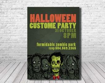 Printable Halloween Invitation, Halloween Party Invitations, Custom Halloween Invitations, Scary Halloween, Zombie Custom Party