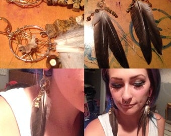 Real bone and feather Dreamcatcher earrings