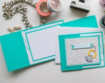 Turqoise Diamond Ring Trifold Card, Stampin Up Handmade Greeting Card