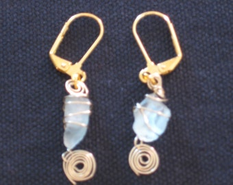 Blue and Gold Sea Glass and Swirls Earrings