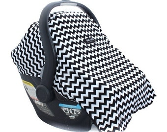 Car Seat Cover for Infant Car Seat Fits all Infant Car Seats- Milk Mustache (Black and White Chevron)