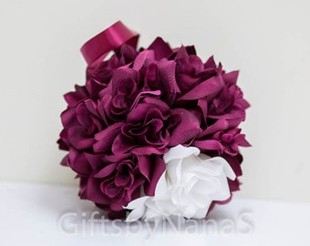Burgundy white flower ball pomander 7 inch dark red maroon wine for wedding flower girls bridesmaid or decoration