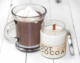 Hot Cocoa Wood Wick Candle - Cocoa Scented Soy Wax Candle, Chocolate Scented Candle, Scented Soy Candle, Cocoa Scent, Chocolate Scent