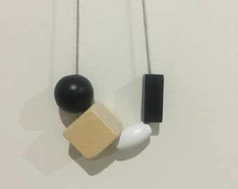 Wooden bead necklace // black white and natural // hand painted