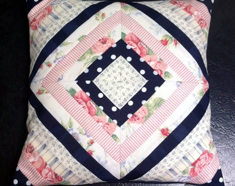 Quilted Cushion Cover - Blue and Pink