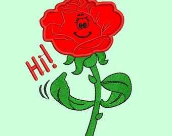 Machine embroidery design Red  Rose  Applique for Girl  Funny  design instant download