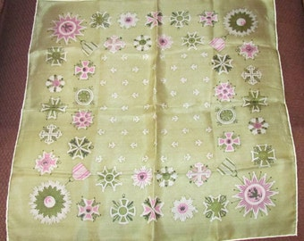 Vintage Silk Scarf, Olive Green Pink White, Celtic Designs, Fleur de Lis, Tissue Paper Silk, Hand Rolled Fashion Accessory