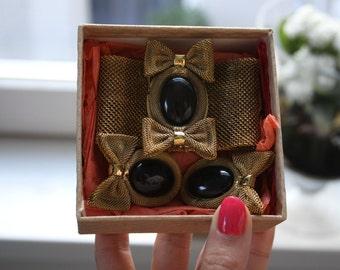 Black Stone Earrings Clip-On Earrings With Bracelet