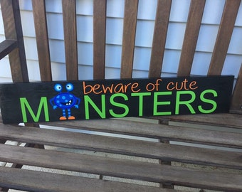 Beware of cute monsters wooden sign, halloween, monsters